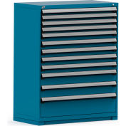 Rousseau Modular Storage Drawer Cabinet 48x24x60, 12 Drawers (4 Sizes) w/o Divider, w/Lock, Blue