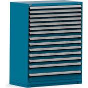 Rousseau Modular Storage Drawer Cabinet 48x24x60, 14 Drawers (3 Sizes) w/o Divider, w/Lock, Blue