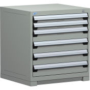 Rousseau Modular Storage Drawer Cabinet 30x27x32, 6 Drawers (2 Sizes) w/o Divider, w/Lock, Gray