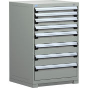 Rousseau Modular Storage Drawer Cabinet 30x27x40, 7 Drawers (4 Sizes) w/o Divider, w/Lock, Gray