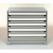 Rousseau Modular Storage Drawer Cabinet 36x24x32, 5 Drawers (2 Sizes) w/o Divider, w/Lock, Gray