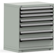 Rousseau Modular Storage Drawer Cabinet 36x24x40, 7 Drawers (4 Sizes) w/o Divider, w/Lock, Gray