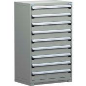 Rousseau Metal Modular Storage Drawer Cabinet 36x24x60, 9 Drawers (1 Size) w/o Divider, w/Lock, Gray