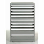 Rousseau Modular Storage Drawer Cabinet 36x24x60, 10 Drawers (3 Sizes) w/o Divider, w/Lock, Gray