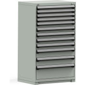 Rousseau Modular Storage Drawer Cabinet 36x24x60, 12 Drawers (4 Sizes) w/o Divider, w/Lock, Gray