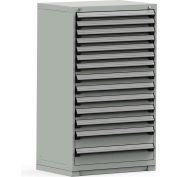 Rousseau Modular Storage Drawer Cabinet 36x24x60, 14 Drawers (3 Sizes) w/o Divider, w/Lock, Gray