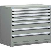 Rousseau Modular Storage Drawer Cabinet 48x24x40, 7 Drawers (4 Sizes) w/o Divider, w/Lock, Gray