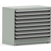Rousseau Modular Storage Drawer Cabinet 48x24x40, 8 Drawers (2 Sizes) w/o Divider, w/Lock, Gray