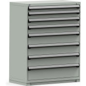 Rousseau Modular Storage Drawer Cabinet 48x24x60, 8 Drawers (5 Sizes) w/o Divider, w/Lock, Gray