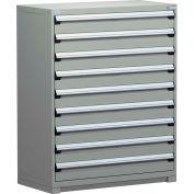 Rousseau Metal Modular Storage Drawer Cabinet 48x24x60, 9 Drawers (1 Size) w/o Divider, w/Lock, Gray