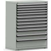 Rousseau Modular Storage Drawer Cabinet 48x24x60, 12 Drawers (4 Sizes) w/o Divider, w/Lock, Gray