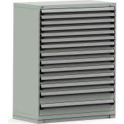 Rousseau Modular Storage Drawer Cabinet 48x24x60, 14 Drawers (3 Sizes) w/o Divider, w/Lock, Gray