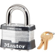 "Master Lock® No. 5 Keyed Padlock - 1"" Shackle - Keyed Different - Pkg Qty 3"