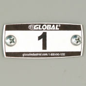 Global™ Locker Number Plate Kit - Pkg Of 100 Numbered 1-100 W/Rivet Gun
