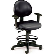 OFM 24 Hour Ergonomic Task Chair with Arms and Drafting Kit, Antimicrobial Vinyl, Mid Back, Black