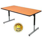 Pedestal Table With Height Adjustable Legs 30x60