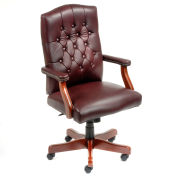 High Back Leather Office Chair Oxblood