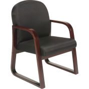Mahogany Wood Reception Chair Black