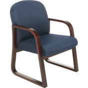Boss Reception Guest Chair with Arms and Wood Frame - Fabric - Blue