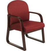 Mahogany Wood Reception Chair Burgundy
