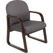 Mahogany Wood Reception Chair Gray