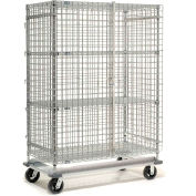 Nexel® Wire Security Storage Truck 36x24x70 with Dolly Base 1600 Lb. Cap.