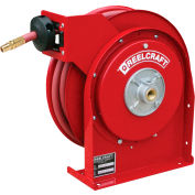 """Reelcraft 4435 OLP 1/4""""x35' 300 PSI Premium Duty All Steel Spring Retractable Compact Hose Reel"""