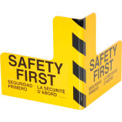 "Steel Corner Guard With Safety First Message 16""H Center 16""L X 8""H Side"