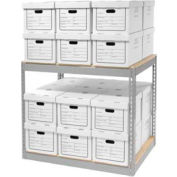 """Record Storage With Boxes 42""""W x 30""""D x 36""""H - Gray"""
