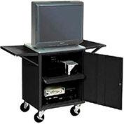 Set Of 2 Black Side Shelves For Security Audio Visual Cart