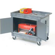 "Mobile Maintenance Cart with Tray Top Shelf 5"" Rubber Casters"