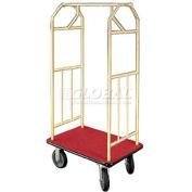Glaro Bellman Hotel Cart 35x24 Satin Brass with Burgundy Carpet & Rubber Wheels