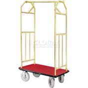 Glaro Bellman Hotel Cart 35x24 Satin Brass with Burgundy Carpet & Pneu. Wheels
