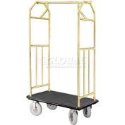 Glaro Bellman Hotel Cart 41x24 Satin Brass with Black Carpet & Pneu. Wheels