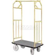 Glaro Bellman Hotel Cart 41x24 Satin Brass with Gray Carpet & Pneu. Wheels