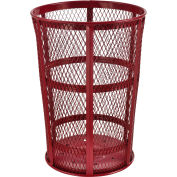 Outdoor Metal Trash Container Red, 48 Gallon