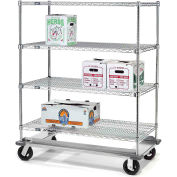 Nexel® E-Z Adjust Wire Shelf Truck with Dolly Base 36x24x61 1600 Lb. Cap.