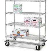 Nexel® E-Z Adjust Wire Shelf Truck with Dolly Base 48x18x70 1600 Lb. Cap.