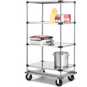 Nexel® Stainless Steel Shelf Truck with Dolly Base 36x18x93 1600 Lb. Cap.