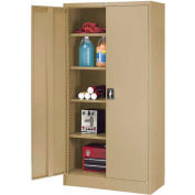 "Global™ Steel Storage Cabinet Recessed Handle 36""W x 18""D x 72""H Tan Easy Assembly"