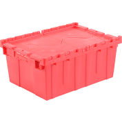 Plastic Shipping Container / Storage Container Attached Lid DC2115-09 21-7/8x15-1/4x9-11/16 Red - Pkg Qty 6