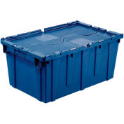 """Global Industrial™ Plastic Shipping/Storage Tote W/ Attached Lid, 21-7/8""""x""""15-1/4""""x12-7/8"""",Blue"""