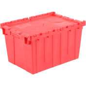 Plastic Shipping Container / Storage Container Attached Lid DC2115-12 21-7/8x15-1/4x12-7/8 Red - Pkg Qty 6