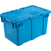 Plastic Shipping Container / Storage Container Attached Lid DC2213-12 22-3/8x13x13 Blue - Pkg Qty 6
