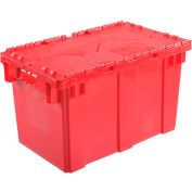 Plastic Shipping Container / Storage Container Attached Lid DC2213-12 22-3/8x13x13 Red - Pkg Qty 6