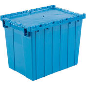 Global Industrial™ Plastic Attached Lid Shipping & Storage Container 21-7/8x15-1/4x17-1/4 Blue