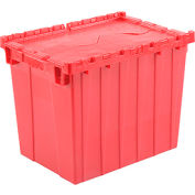 Plastic Shipping Container / Storage Container Attached Lid DC2115-17 21-7/8x15-1/4x17-1/4 Red - Pkg Qty 3