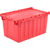Plastic Shipping Container / Storage Container Attached Lid DC2515-14 24-1/2x14-7/8x13-3/4 Red - Pkg Qty 3