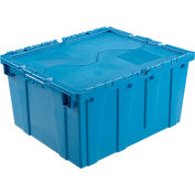 Plastic Shipping Container / Storage Container Attached Lid DC2420-12 23-3/4x19-1/4x12-1/2 Blue - Pkg Qty 3