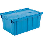 Plastic Shipping Container / Storage Container Attached Lid DC2717-12 27-3/16x16-5/8x12-1/2 Blue - Pkg Qty 3